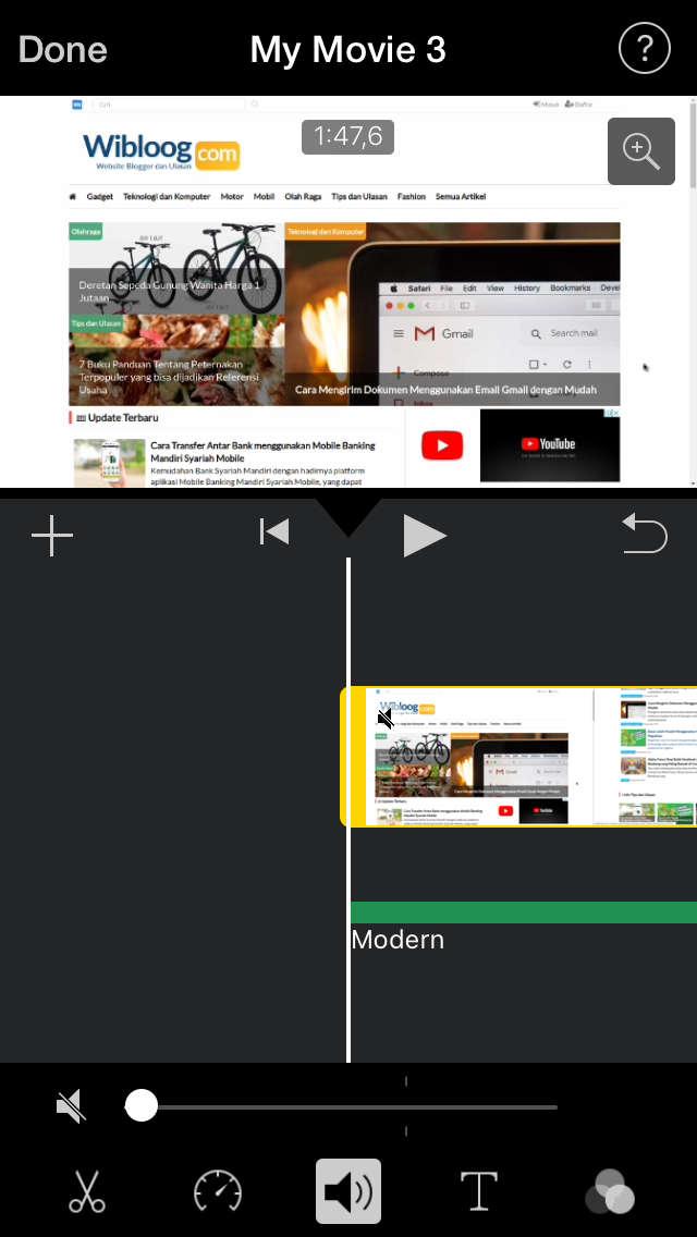 Menghilangkan Suara pada Video