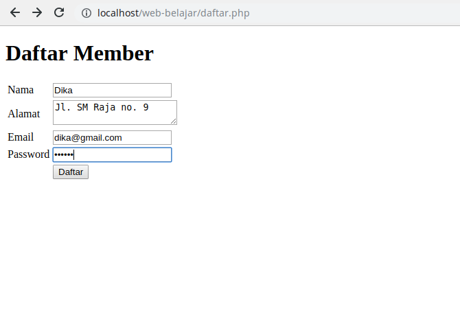 2. Form Daftar Member