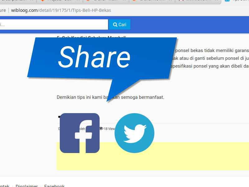 Membuat Tombol Share Sosial Media Facebook dan Twitter