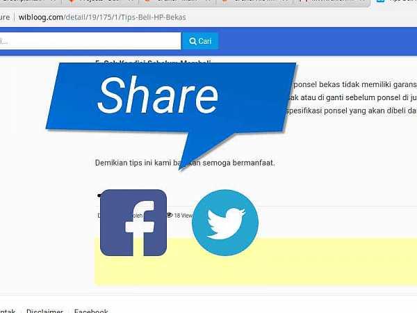 Membuat Tombol Share Sosial Media Facebook dan Twitter